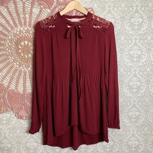 Altar'D State Long Sleeve Neck Tie Blouse